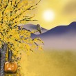 Stock Photo: Autumn Halloween background with golden asp tree
