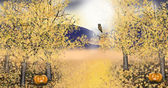 Autumn landscape with golden asp trees pumpkin owl — Stock Photo