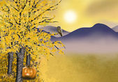 Autumn Halloween background with golden asp tree — Stock Photo