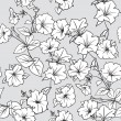 Seamless pattern with leaves and petunia flowers — Stock Vector