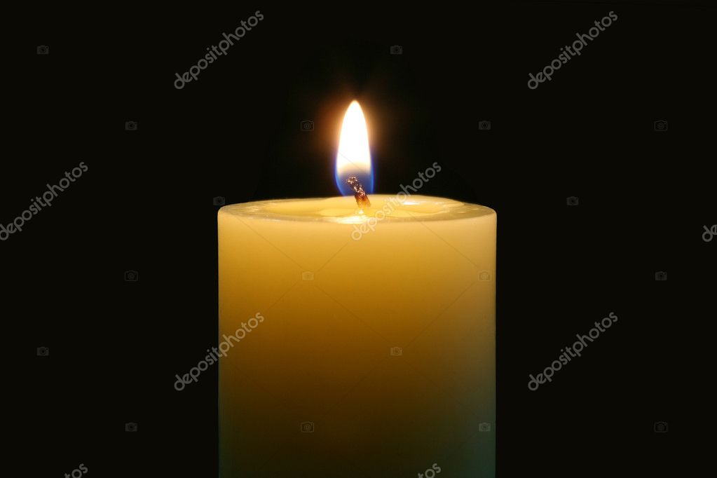 A single burning candle isolated with black background — Stock Photo #11210555