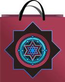 Bolsa lilás com ornamento — Vetor de Stock
