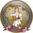 Stock Vector: Girl beer waitress