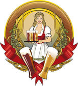 Girl waitress, beer label — Stock Vector