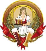 Girl waitress, beer label — Stock Vector