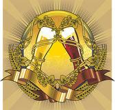 ビールのグラス ラベル — ストックベクタ
