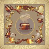コーヒー カップ セット — ストックベクタ