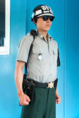 South Korean Soldier in conference room in DMZ in Panmunjom — Stock Photo