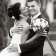Happy young couple just married — Stockfoto
