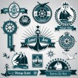 Large collection of vintage nautical labels — Stock Vector #11532018