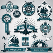 Large collection of vintage nautical labels — Stock Vector