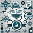 Large collection of vintage nautical labels 2 — ストックベクター #11542501