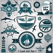 Vintage deniz etiket 2 büyük koleksiyonu — Stok Vektör