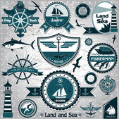 Large collection of vintage nautical labels 2 — Stock Vector