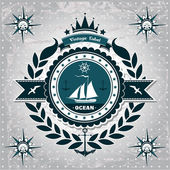 Vintage label with maritime character — Stock Vector