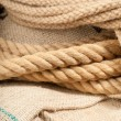 Twin brown ropes — Stock Photo