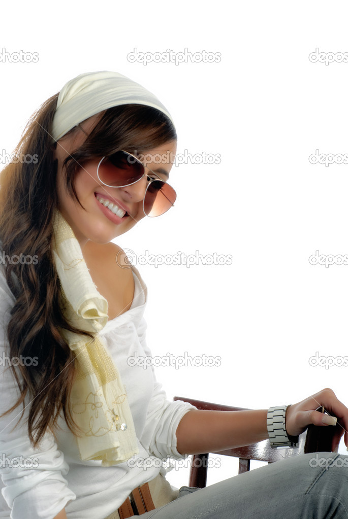 Happy girl sitting with sunglasses isolated on white with copy space — Stock Photo #10782960