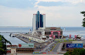 View of the Odessa port from the Potemkinsky ladder. — Stock Photo