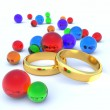 Two wedding rings and balls — Stock Photo