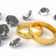 Two rings and diamonds — Stock Photo