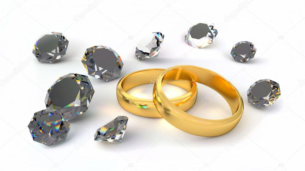 Two rings and diamonds — Stock Photo #11062344