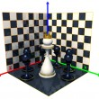 Axes of the coordinates, chess queen — Stok fotoğraf