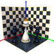 Axes of the coordinates, chess queen — Foto de Stock