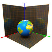Axes of the coordinates and globe — Stock Photo