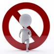 3d humanoid character with a ban sign — Fotografia Stock  #12366854