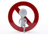 3d humanoid character with a ban sign — Stock Photo