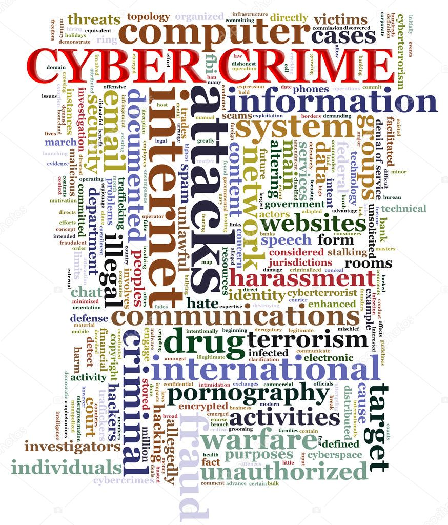 Illustration of Wordcloud representing concept of cyber crime — Stock Photo #11559844