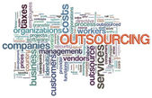 Wordcloud van outsourcing — Stockfoto
