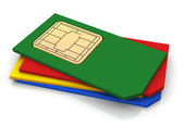 3d pilha de cartões de sims — Foto Stock