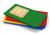 Sims カードの 3 d スタック — ストック写真
