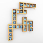 Question words crossword shelf — Stock Photo