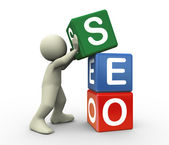 3d person and seo cube — Stock Photo