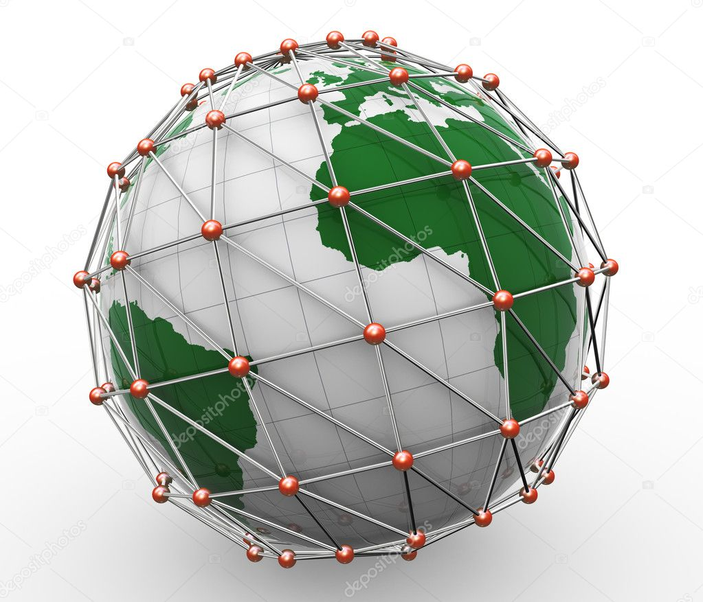 3d render of global business network concept.  Stock Photo #11747614