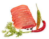 Smoked meat slices and spices — Stock Photo