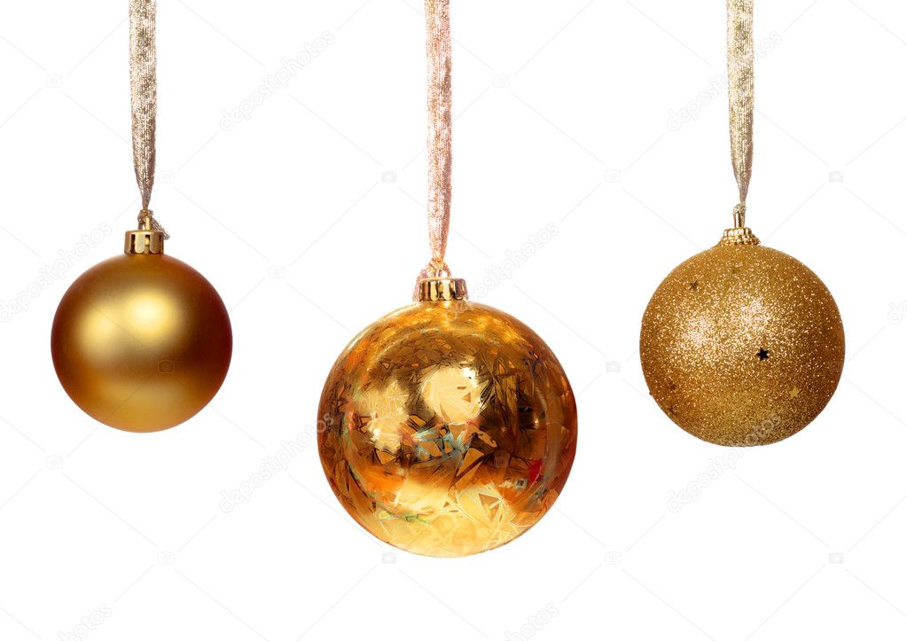 Three golden balls isolated on white background  Foto de Stock   #11935792