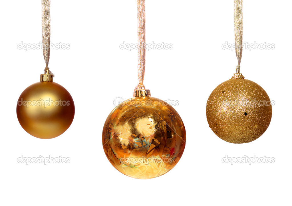 Three golden balls isolated on white background — Stok fotoğraf #11935792