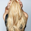 Woman with long blond hair — Stock Photo