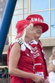 Danmark fans nära kharkiv stadium — Stockfoto