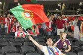 Fan waving the national flag of Portugal — Stock Photo
