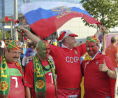 Fan of Russia together with the fans of Portugal — Stock Photo