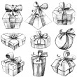 Hand Drawn Gift Box — Stock Vector