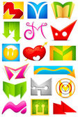 Different Icon with alphabet M — Stock Vector