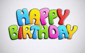 πολύχρωμο χαρούμενα γενέθλια κείμενο — Διανυσματικό Αρχείο