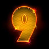 Zářící číslo devět — Stock vektor
