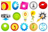 Different Icon with alphabet O — Stock Vector