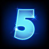 Glowing Number Five — Stock Vector